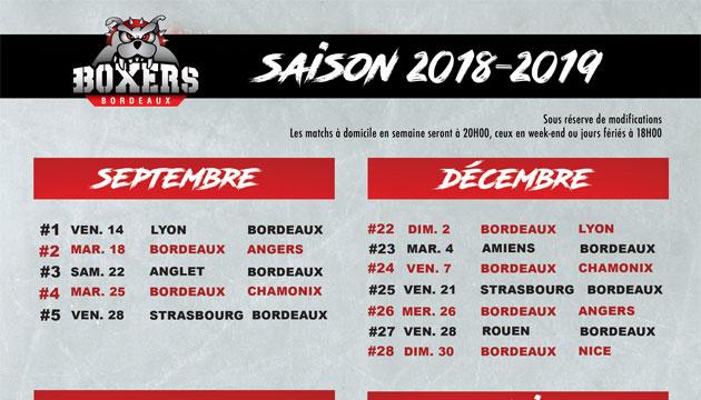 Hockey Rouen Calendrier.Calendrier 2018 2019 Boxers De Bordeaux